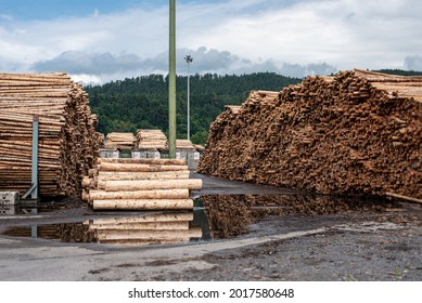Pile of debarked Log trunks, the logging timber wood industry.