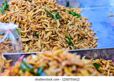 Pile of Deep fried small fishesTraditional Thai recipes.