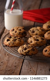 Pile of Delicious Chocolate Chip Cookies on a cooling rack with a Bottle of Milk