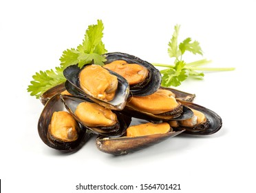 A pile of delicious cooked mussels isolated on white.