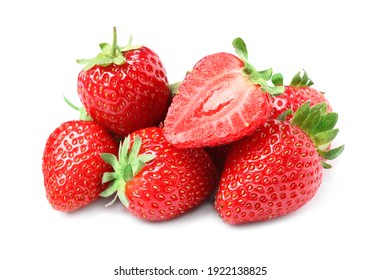 Pile of delicious cut and whole strawberries on white background
