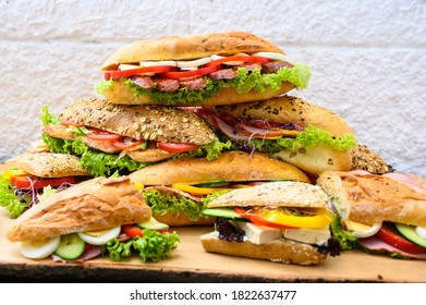 A pile of delicious and fresh sandwiches