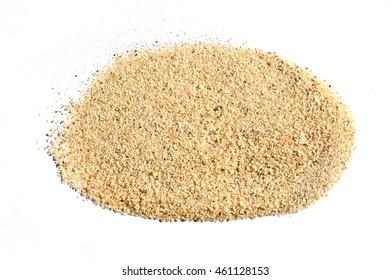 pile desert sand isolated on white background, fine sand  texture.