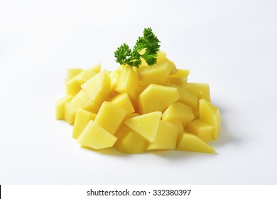 Pile of diced raw potatoes