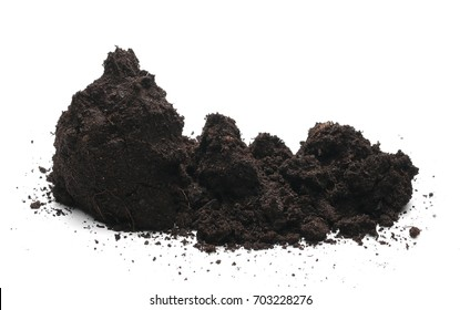 Pile dirt, humus isolated on white background, with clipping path