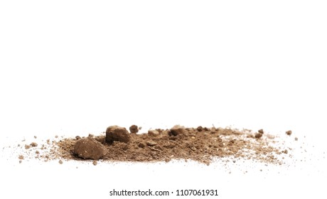 Pile dirt isolated on white background, with clipping path, side view