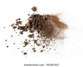 pile dirt isolated on white background, top view, with clipping path