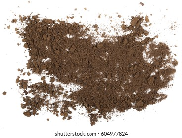 Pile dirt isolated on white background, top view