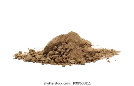 Pile of dirt, soil isolated on white background