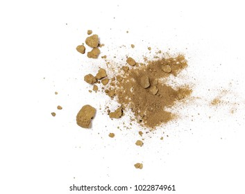 Pile of dirt, soil isolated on white background, top view