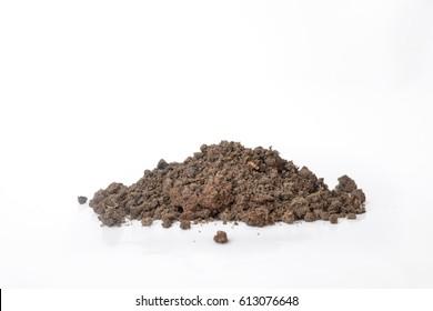 pile dirt of soil land on white background