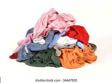 Pile of dirty clothes for the laundry