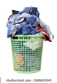pile of dirty laundry in a washing basket, laundry basket with colorful towel, basket with clean clothes, colorful clothes in a laundry basket on white background, image with clipping path