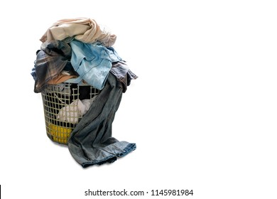 pile of dirty laundry in a washing basket, laundry basket with colorful towel, basket with clean clothes, colorful clothes in a laundry basket on white background with copy space.