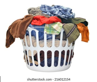 Pile of dirty laundry in a washing basket on a white background