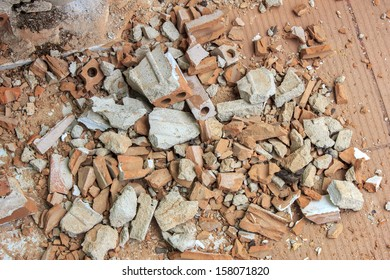 Pile of Discarded Bricks from Construction Site