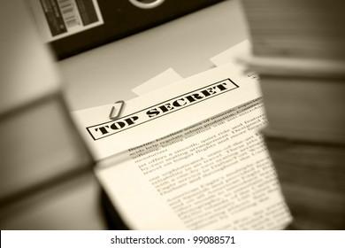 """Pile of documents """"Top Secret"""""""