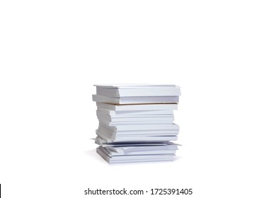 Pile of documents (white papers) isolated on white background