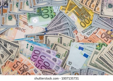 pile with dollar and euro for design .