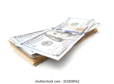 Pile of dollar notes. All on white background