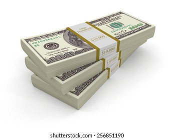 Pile of Dollars (clipping path included)