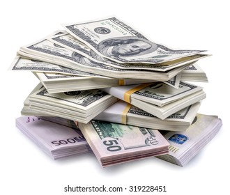 pile of dollars isolated on a white background