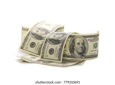 pile of dollars isolated on white background