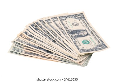 Pile of dollars on while background