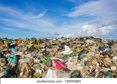 Pile of domestic garbage in landfill dump site.