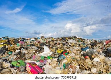 Pile of domestic garbage in landfill dump site in Kota Kinabalu, Sabah Borneo, Malaysia.