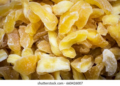 Pile of Dried and Candied Wild Apples Manzana Close Up Background. Healthy Eating.