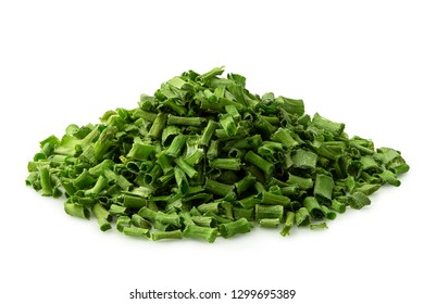 A pile of dried chopped chives isolated on white.