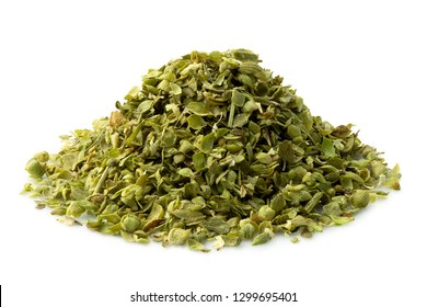 A pile of dried chopped oregano isolated on white.