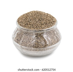 Pile of Dried Cumin Seeds Also know as caraway, jira or jeera seeds used in oriental cuisine isolated on white Background