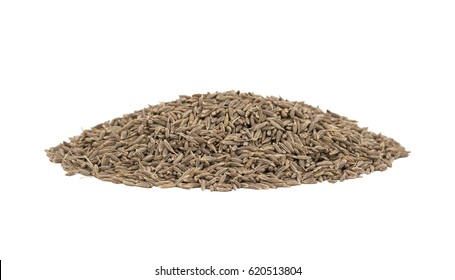 Pile of Dried Cumin Seeds Also Know as Caraway, jira or jeera Its seeds are used in the cuisines of many different cultures isolated on white Background