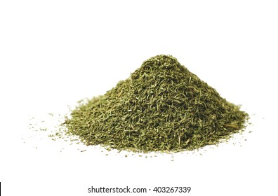 Pile of dried dill seasoning isolated over the white background