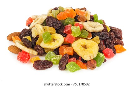 Pile of dried fruits isolated on white background