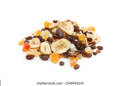 Pile of dried fruits mix on white background