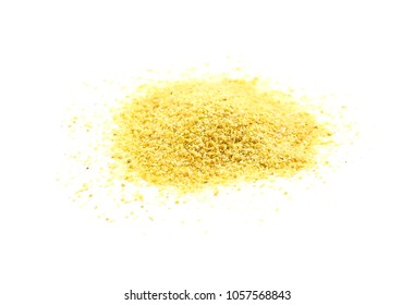 Pile of dried organic garlic powder - isolated
