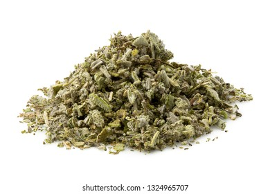 A pile of dried rubbed sage isolated on white.