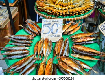 Pile of dried seafood at local market in Manila, Philippines.