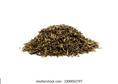 Pile of dried thyme over white background close up