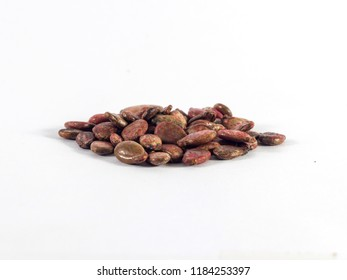 Pile of dried watermelon seeds on white background