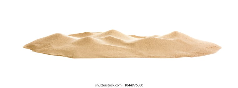 Pile of dry beach sand on white background