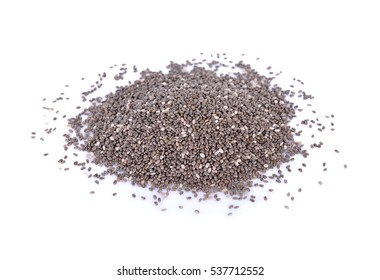pile of dry chia seeds on white background
