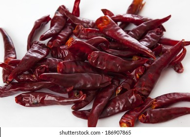 A pile of dry chilli pepper.