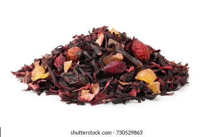 Pile of dry herbal tea with fruits isolated on white