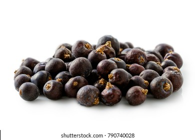 A pile of dry juniper berries isolated on white.