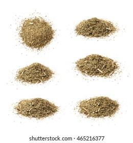 Pile of dry mate tea leaves isolated over the white background, set of six different foreshortenings
