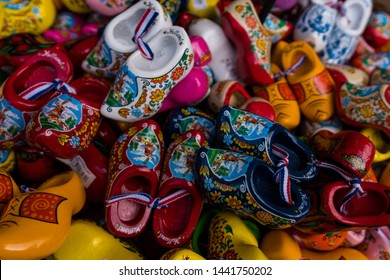 Pile of Dutch wooden shoe clog souvenirs